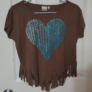 ❤3/20 Girls Mudd L 14 Faux Suede Fringe Heart Top